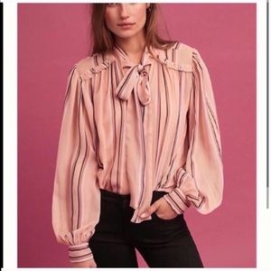 Anthropologie blush pink blouse